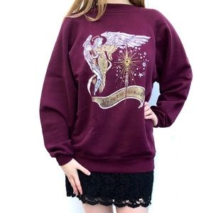 Maroon burgundy ugly Christmas sweater gold angel